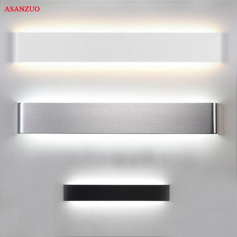 직사각형 led 벽 램프 머리맡 sconces 4w8w14w18w 라이트 램프 110 v 220 v 거실 욕실 거울 조명 실내 통로