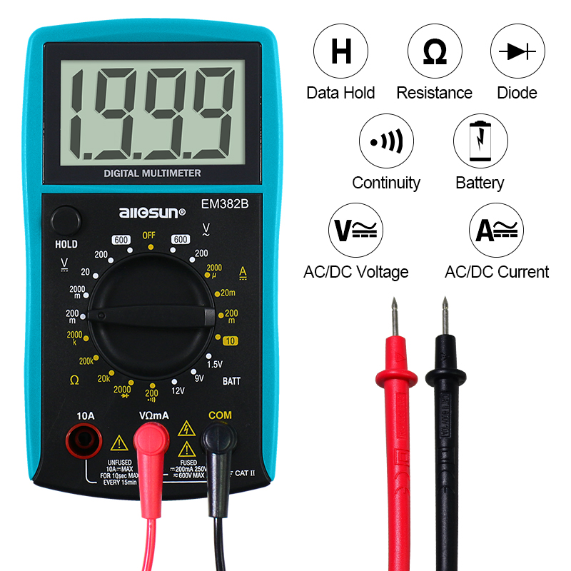 All-sun EM382B LCD Digital Multimeter DC/AC Voltmeter Continuity Battery Diode Tester