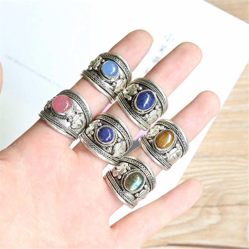 From the Himalayas Free Ship in USA Tibet Design Metal Band Ring w Moonstone