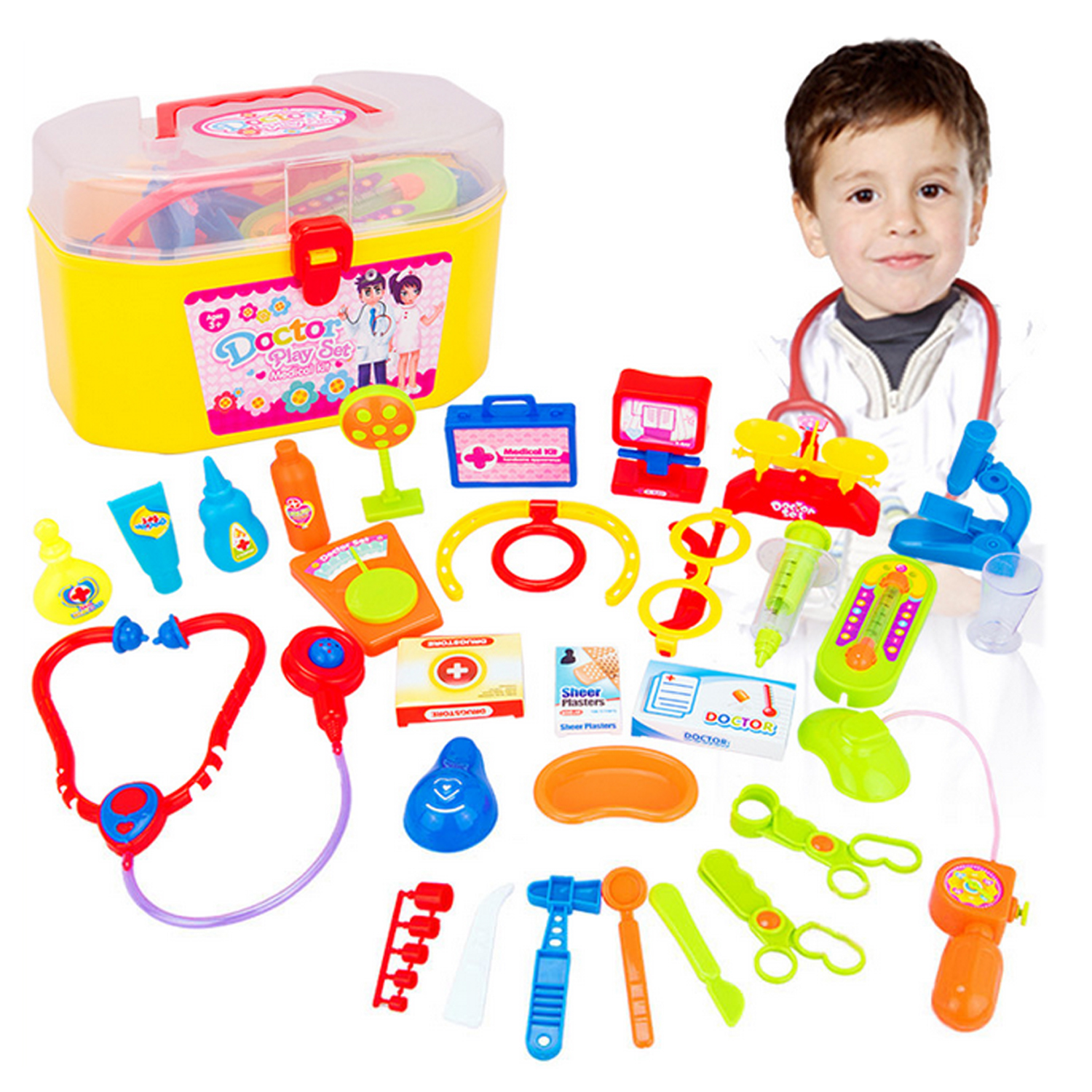 Children Kid Plastic Simulation Pretend Play Doctor Medical Toy Kit Educational Toy Set with Case