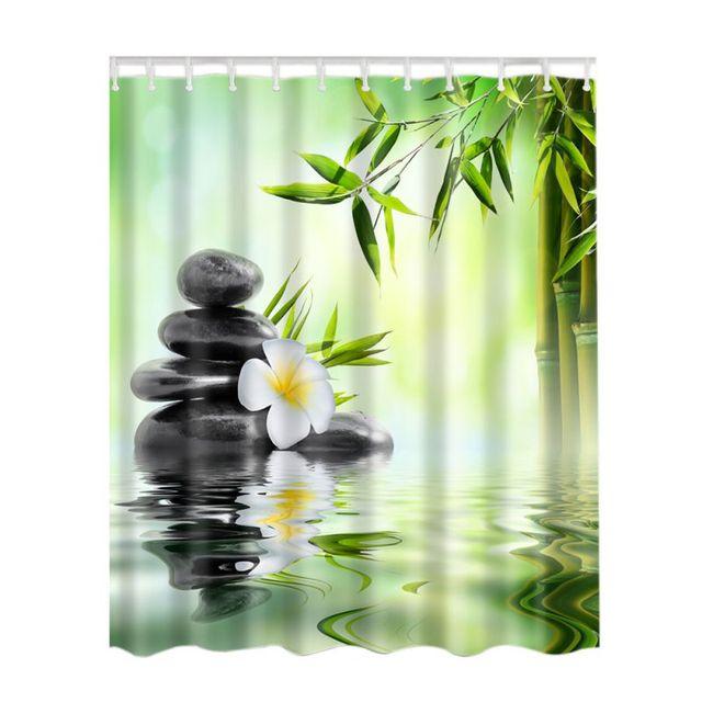 Foresta di bambù/Albero Colorato/Cervo/Nave/Pietra Impermeabile Tende Da Doccia