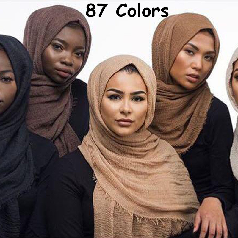 H8 10pcs  Crinkled Hijab Wrinkle Scarf Bubble Cotton Viscose Scarf Crinkle Plain Shawl Muslim Head Hijab Maxi Scarf