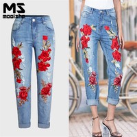 Mooishe Autumn Red Embroidered Jeans Woman High Waisted Ripped Rose Embroidery Jeans Casaul Denim Pant S
