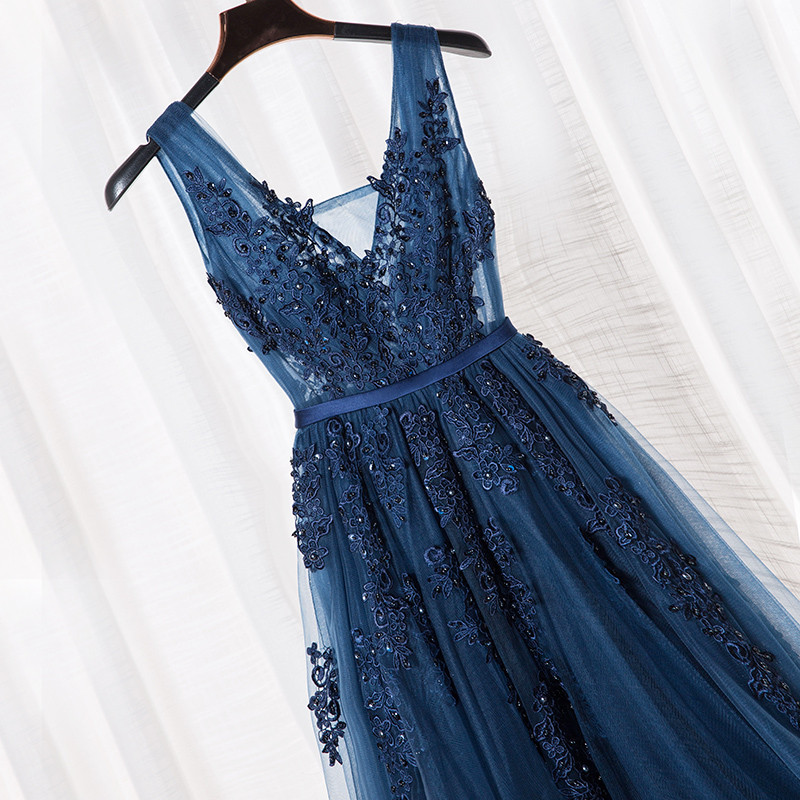 Bride Dresses Beading Party Navy-Blue Lace Elegant The of Floor-Length C1939 Sexy title=