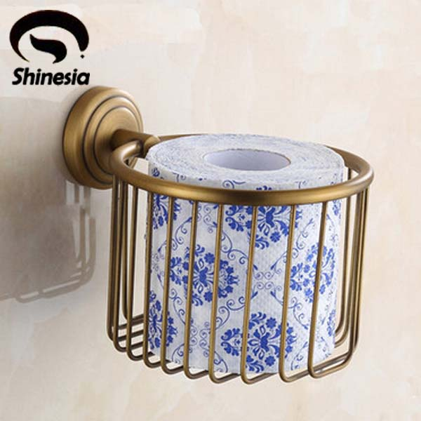 Retro Style Wall Mounted Toilet Paper Holder Roll Towel Bar Holder Antique Brass y3698 retro napkin towel toilet paper bin basket holder antique brass