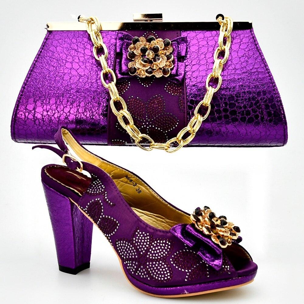 4 De Noche Y Color Zapatos Sb8291 Llegada Zapato Embragues Bolso Juego Sandalias Nueva Bolsa A Púrpura Italiano 0qacnW71