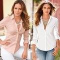 Новых Женщин Дамы Slim Fit С Длинным Рукавом Хлопок Повседневная Блузка Рубашка Топ Модные Блузы