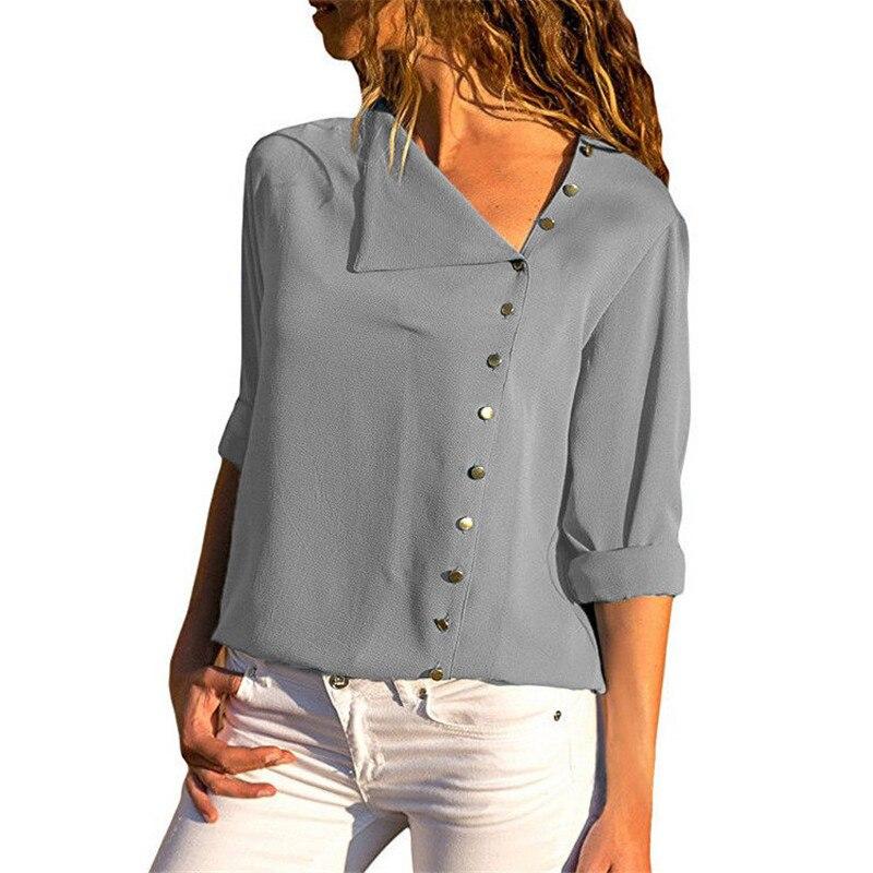 Casual Long Sleeve Women   Blouse     Shirts   2018 New Solid Streetwear Summer Autumn Blusas Side Button Irregular Female Top