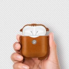 מקרה עבור אפל Airpods יוקרה עור עבור AirPods מקרה אוזניות אביזרי אלחוטי כיסוי עור מפוצל עם Keychain