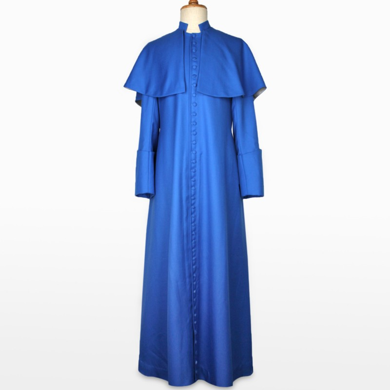 Cosplaydiy Baspoke Hereford Cathedral Cassock Cosplay Costume Adult Blue Medieval Clergy Robe Cassock L320