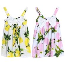 Summer Baby Girls Princess Dress 2017 Sleeveless Lemon Printed Floral Dress Girls Casual Clothes Outfit Children