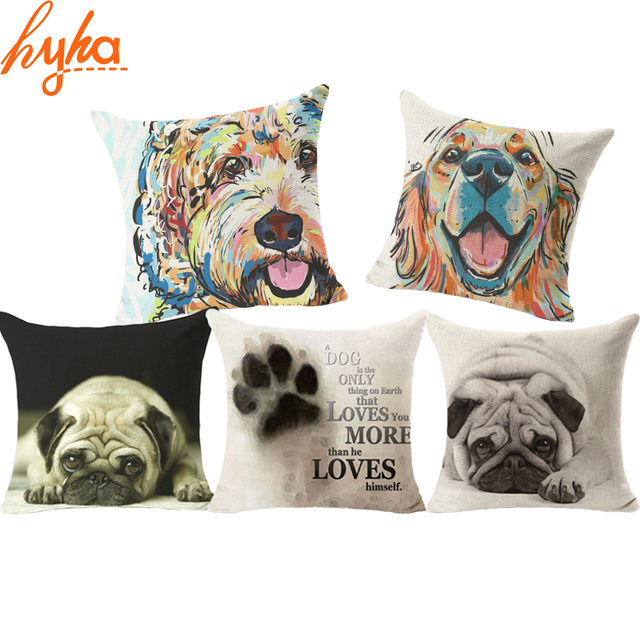 Hyha 2017 Hot Sell Pug Dog Cushion Cover Sleep Dog Throw Pillpw Cover Animal Watercolor Cushion Cover for Sofa Decoratove Pillow