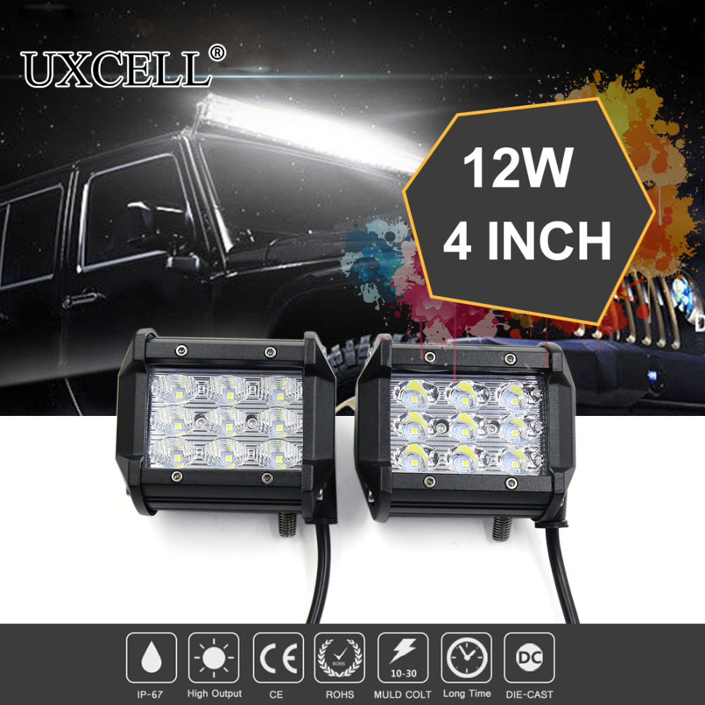 UXCELL 2PCS 4inch 9 LED 12W 6000-6500K IP67 Waterproof Work Light Bar Spot Beam Off Road Truck For Jeep ATV SUV Hood Truck