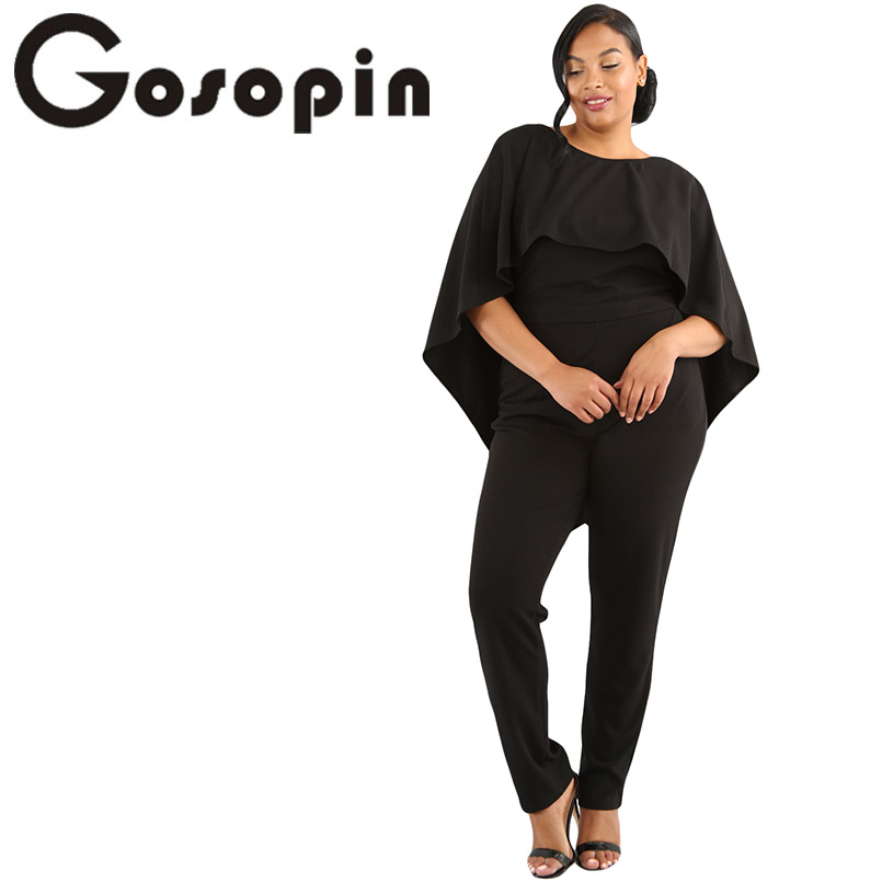 Gosopin Backless Fashion   Jumpsuits   Plus Size Cape Ruffle   Jumpsuit   Overalls Sexy Party Solid High Waist Casual   Jumpsuits   LC64472