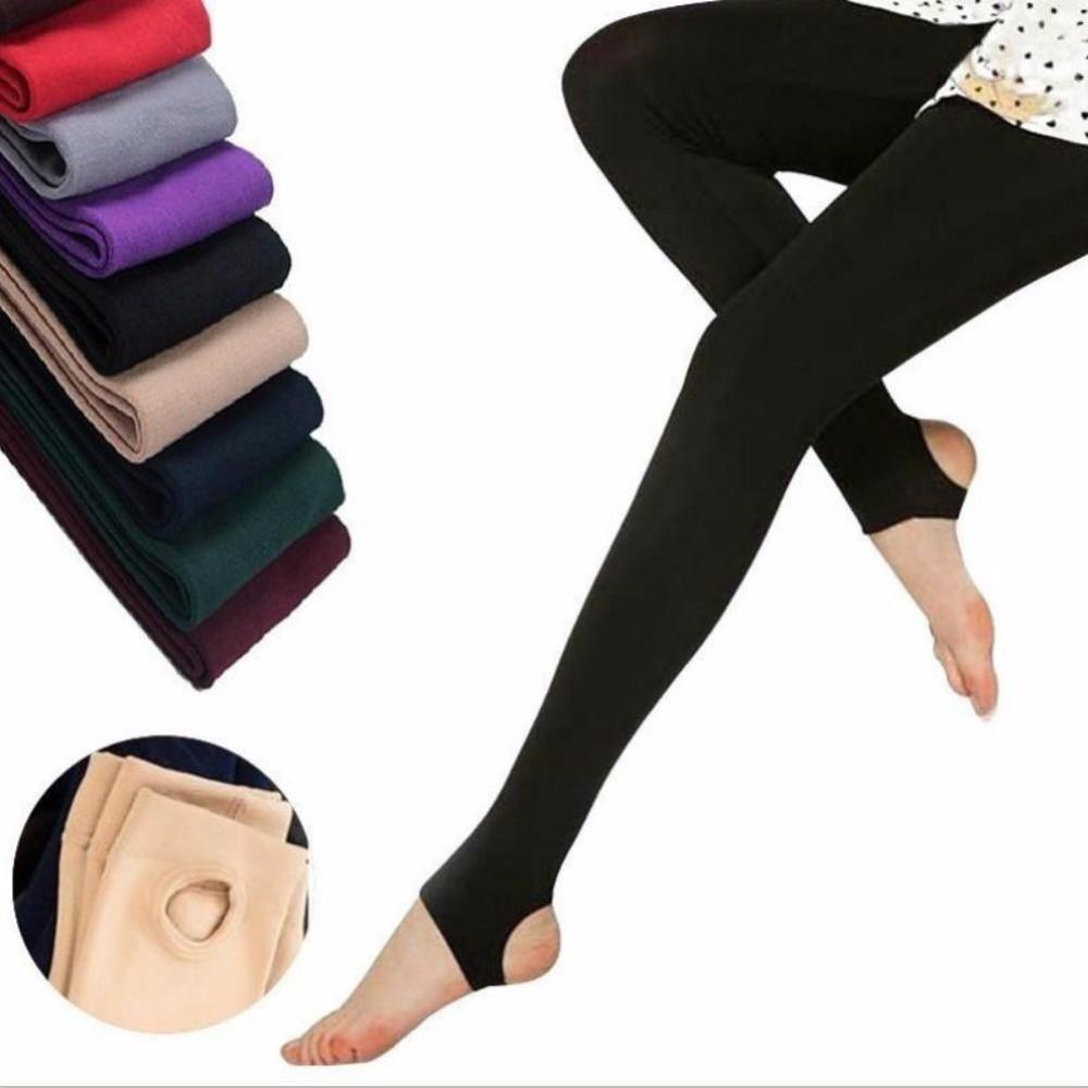 1 Stücke Herbst Steigbügel Leggings Elastische Samt Thermische Knöchel Dünne Leggings Für Frauen Casual Hosen
