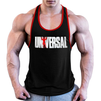 Men Universal Nutrition Tank Top Y-Back Gym Muscle Racerback Straight Bottom racerback tank top