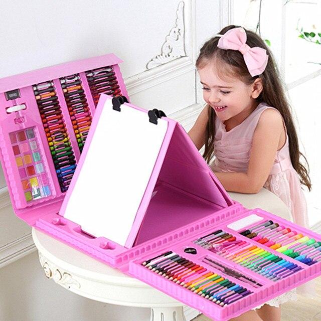 208 unids/set conjunto de herramientas de pintura azul Rosa dibujo juguetes acuarela pluma niños regalos navidad Año Nuevo cumpleaños Juguetes