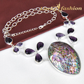 Unique Astonishing Rare Huge Natural Abalone Shell Amethyst Handmade 925 Silver Necklace N0485