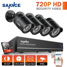 SANNCE 8CH 720P CCTV System 1080P HDMI DVR 4pcs 720P Waterproof IR Outside CCTV Safety Cameras 1280TVL Video Surveillance Equipment