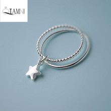 925 Sterling Silver Lovely Stars Pendant Double Finger Ring Christmas Party Gift for Women Girl Accessories Birthday Jewelry