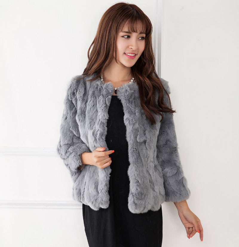 New 2015 Winter Female Natural Rex Rabbit Fur Coats Women Solid O ...