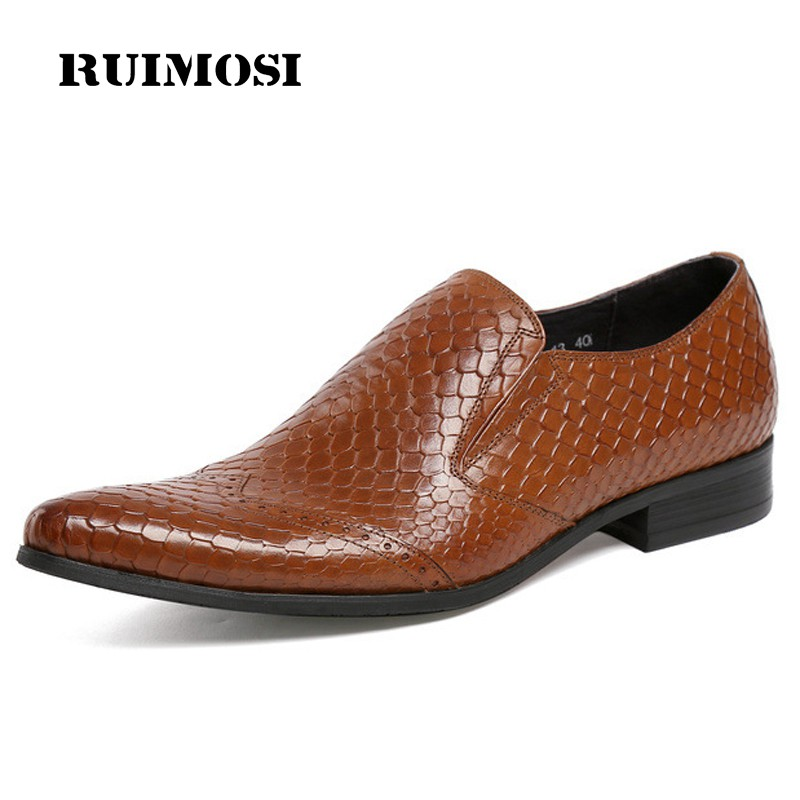 RUIMOSI Hot Sales Luxury Man Crocodile Casual Shoes Genuine Leather Loafers Formal Brand Pointed Toe Men's Handmade Flats CA13