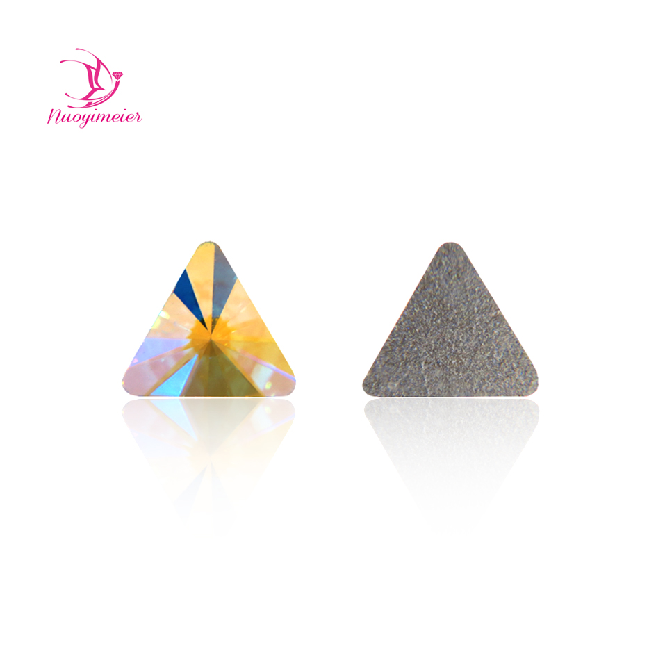 288Pcs 5mm 6mm Crystal AB Glitter Triangle Non Hotfix Nail Art Decoration Stones Shiny Gems Manicure Accessories Rhinestones super shiny 5000p ss16 4mm crystal clear ab non hotfix rhinestones for 3d nail art decoration flatback rhinestones diy