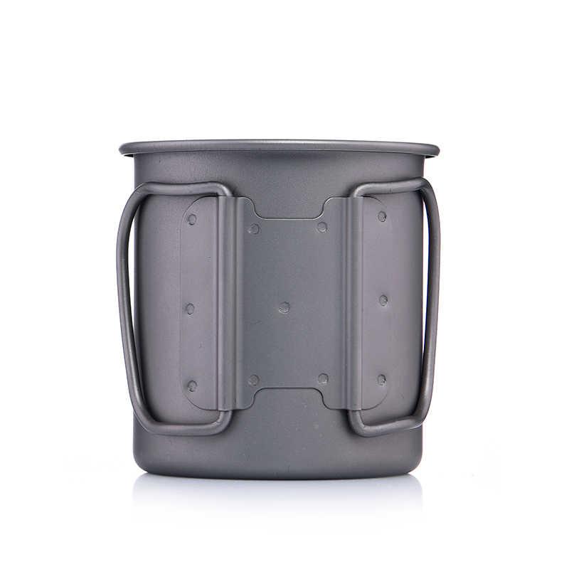 Widesea 超軽量チタンカップ屋外キャンプピクニック水カップマグ折りたたみハンドル 300 ミリリットル