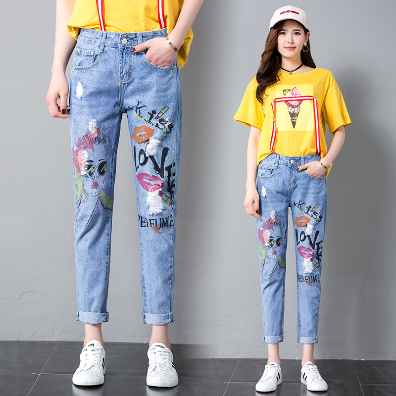 2018 Printing Paint Ripped Jeans Joker Female Loose Nine Minutes  Jeans Casual Fashion Trousers Femme Pants 810#