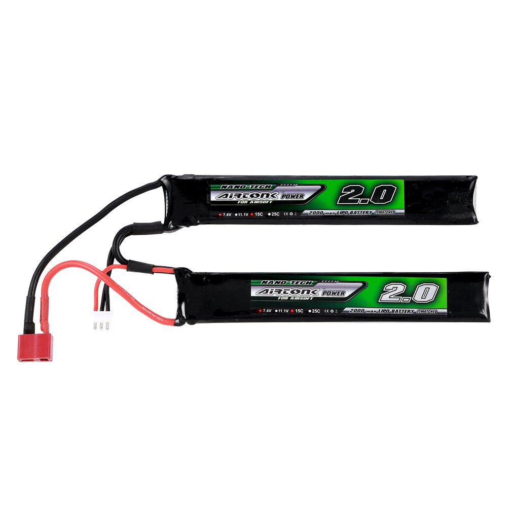 Airtonk Power 7.4V <font><b>2000mAh</b></font> 15C <font><b>2S</b></font> <font><b>Lipo</b></font> Battery Mini Tamiya Plug Rechargeable for Gun Model Toy Boys Gift image