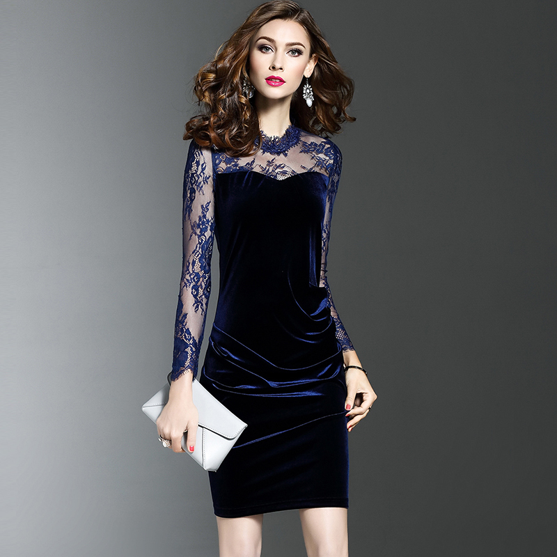 2019 Summer New Lace Dresses Women See Through Sexy Slim