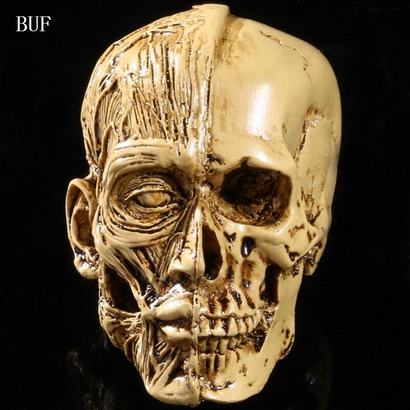 BUF Resin Craft Halloween Decoration Skull Statues Creative Bar Decoration Skull Statue Sculpture Art Sketch Model