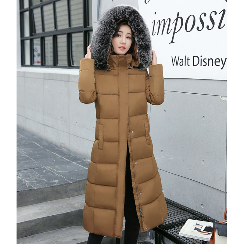 2017 NEW WOMEN WINTER JACKET MEDIUM LENGTH FUR COLLAR HOODED COAT THICKEN WARM FEMALE PARKAS COTTON PADDED HOT SALE ZL475 women winter coat leisure big yards hooded fur collar jacket thick warm cotton parkas new style female students overcoat ok238