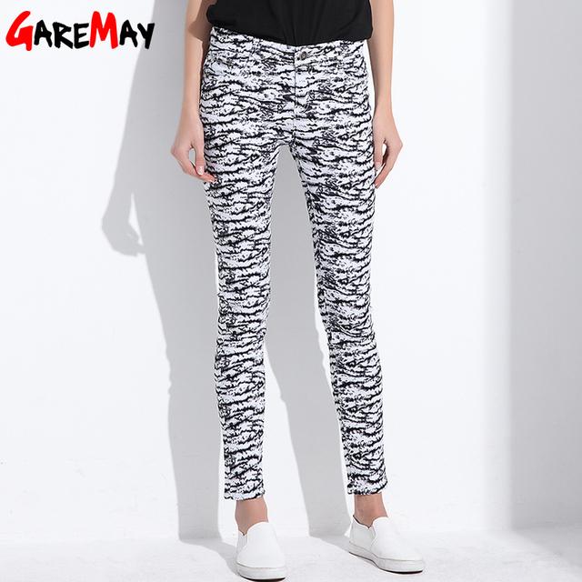 2017 Nova Calças Fêmeas das Mulheres de Algodão de Alta Elástica Calças Jeans Calças Lápis Pintado Impressão Fina Flor Fino Roupas Para mulheres