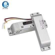 NC elektrikli yuvarlak sürgü kilidi DC12V güvenli elektronik akıllı kapı kilitleri aksesuarları erişim kontrol sistemi için zaman gecikmesi ile