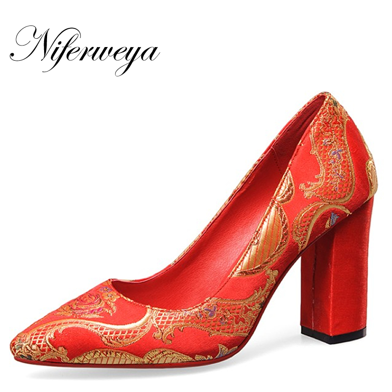 Spring/autumn Chinese style Embroidery women red wedding shoes sexy Pointed Toe Slip-On High heels zapatos mujer size 33-40 rizabina vintage spring women wedge pumps elegant slip on high heels shoes pointed toe ladies zapatos mujer shoes size 33 43