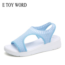E TOY WORD Women Sandals 2019 Fashion Summer Shoes Comfortable Ladies Slip-On Flat sandalias