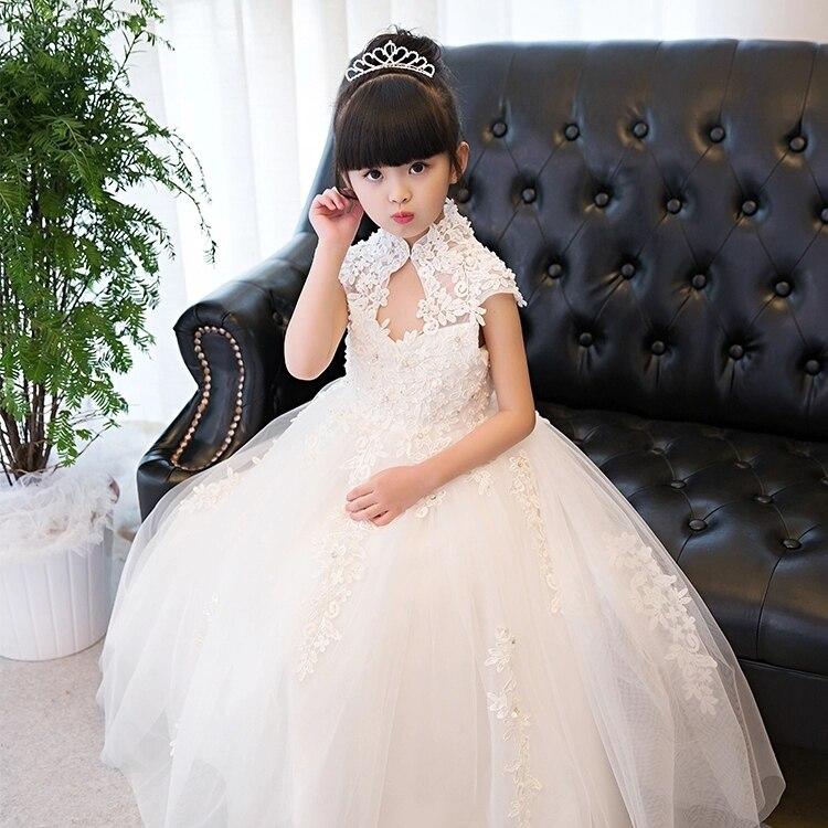 Glizt Girls Wedding Dresses High Collar White Sequin Tulle Princess Birthday Dress Long First Communion Gown For Girls Princess цена 2017