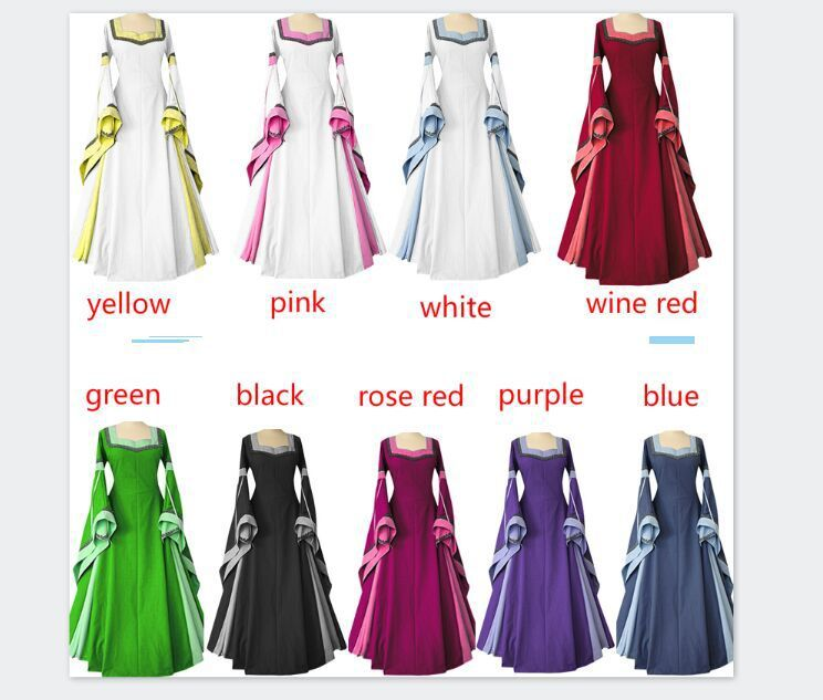 Great 2018 Medieval Wedding Gown Renaissance Bell Sleeve: Medieval Costume For Adult Women Long Gown Dress Victorian