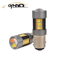oynyo 2x 1157 LED Bulbs 62smd 4014 Brake Light Auto Reversing Lights Bulbs White & Yellow Brake Lamp