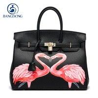 JIANGDONG Custom painting graffiti PU Leather Gold Lock Luxury Designer Animal pattern Daily Women Casual Art Design Bags 35CM