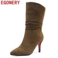 EGONERY Mid Calf Boots Pleated Slip On Kid Suede Elegant Pointed Toe Winter Women Grind Arenaceous