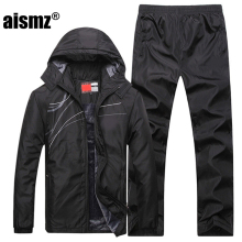 Aismz Men Winter Tracksuits Men's Set Thicken Fleece Jacket + Pants Suit Sweatshirt Style Hoodie Mens Sporting Suits size L~5XL