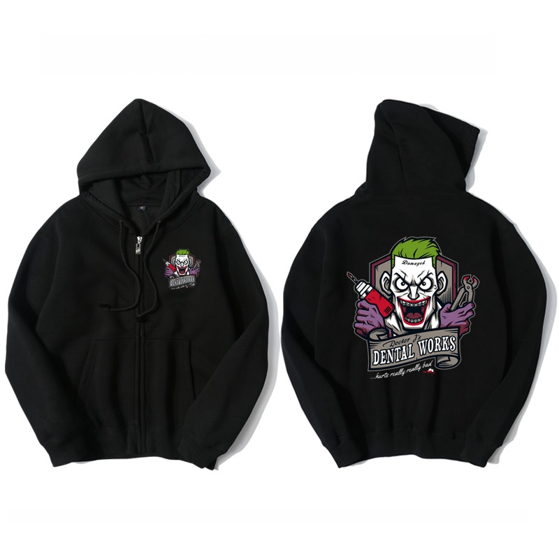 Waidx Cute Joker Harley Quinn Hoodies Men Cotton Suicide Squad Lover Sweatshirt Side pockets Hoody Outerwear Unisex Zipper Coat
