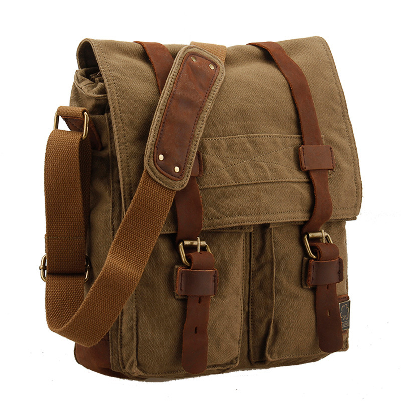 Fashion Single Shoulder  Messenger Bags Canvas Vintage Men Women Solid String Messenger Bag Casual Travel Unisex Messenger Bags aosbos fashion portable insulated canvas lunch bag thermal food picnic lunch bags for women kids men cooler lunch box bag tote