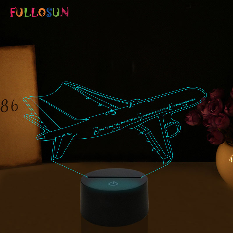 Customize 3D Illusion Night Lights Airplane 7 Color Change LED Night Lamp For Dropshipper