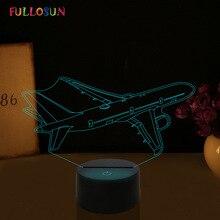 Настроить 3D Иллюзия ночные огни самолет 7 цветов изменить светодио дный ночника для Dropshipper