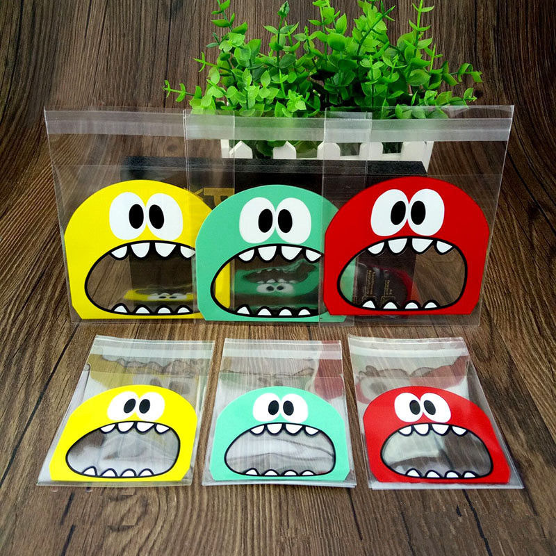 50pcs/lot 2 Size Funny Big Mouth Monster Plastic Bag Gift Cookie Candy Packing Bags OPP Self Adhesive Kids Birthday Party Favors