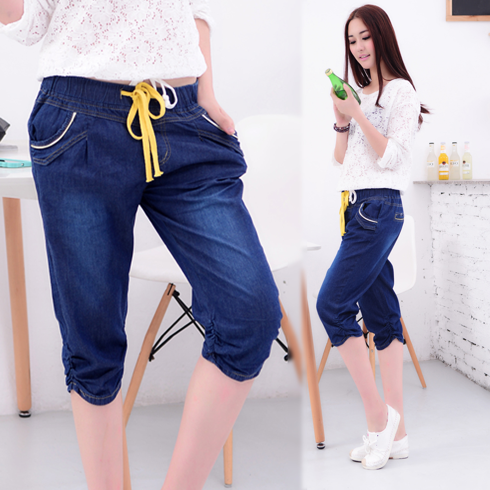 2018 autumn women black pants mother denim cotton linen pants high waist plus straight capris pants casual trousers