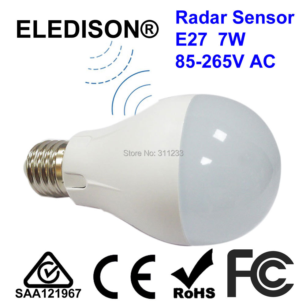 Microwave Radar Motion Sensor LED Light Bulb 7W E27 70x120mm 85-265V Sensitive Distance 8 Meters Automatic On/Off Working